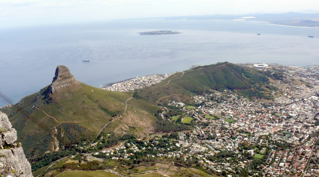 View from Table Mountain top in Cape Town