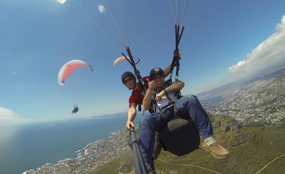 Paragliding in Cape Town with view of Robben Island