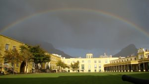 Rainbow above Castle of Good Hope in Cape Town