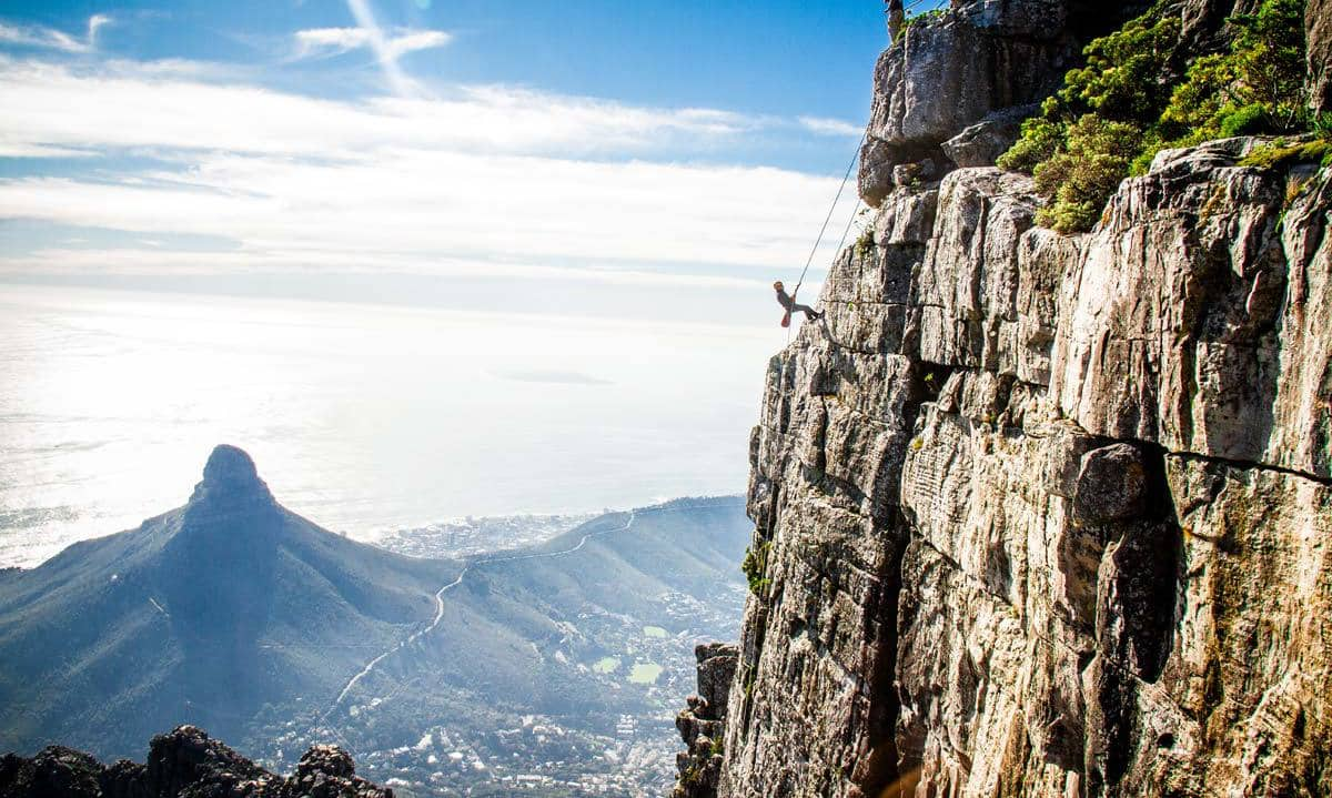 Abseiling Up Table Mountain